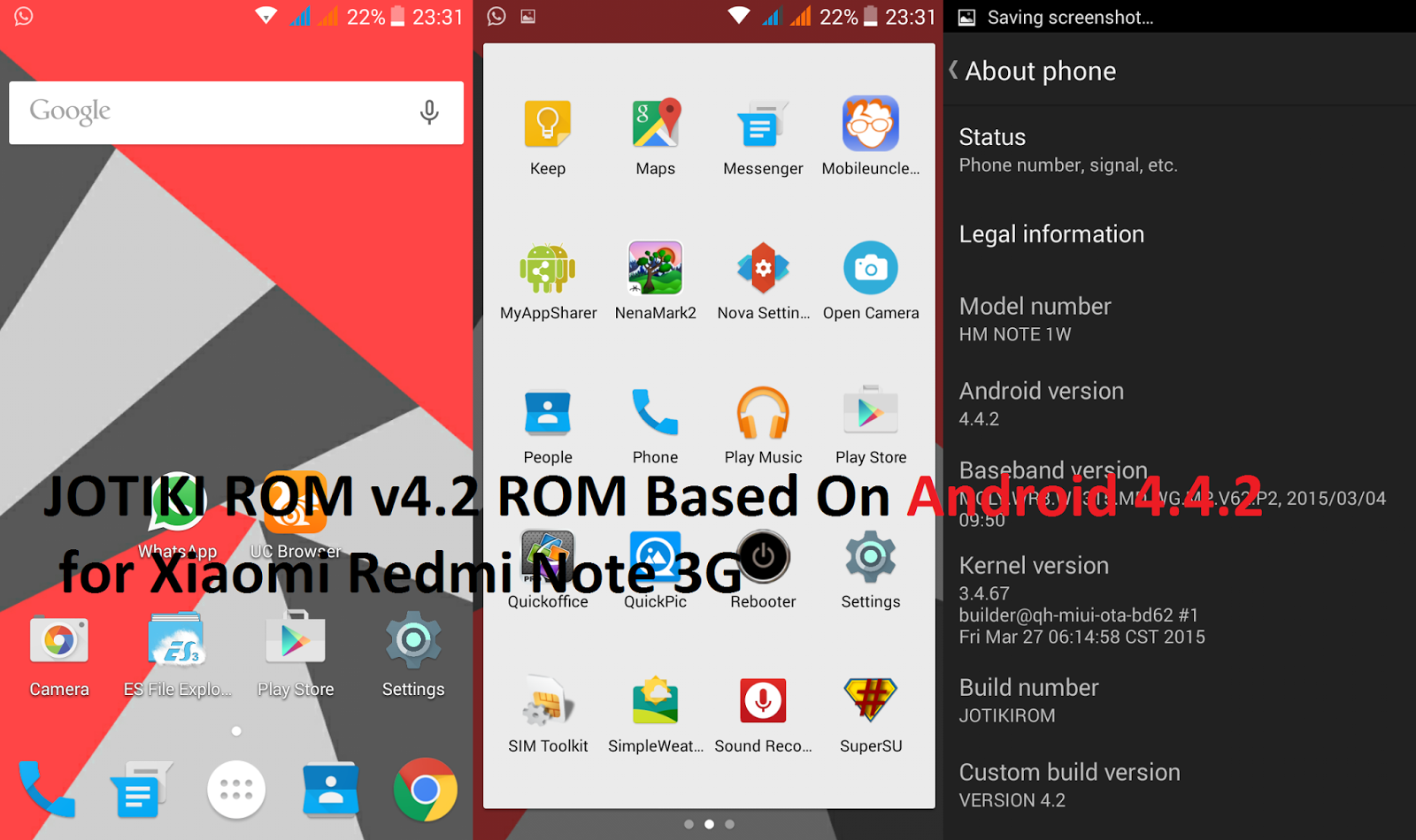 Jotiki Rom 42 For Redmi Note 3g Links Full Review Droid Xiaomi White