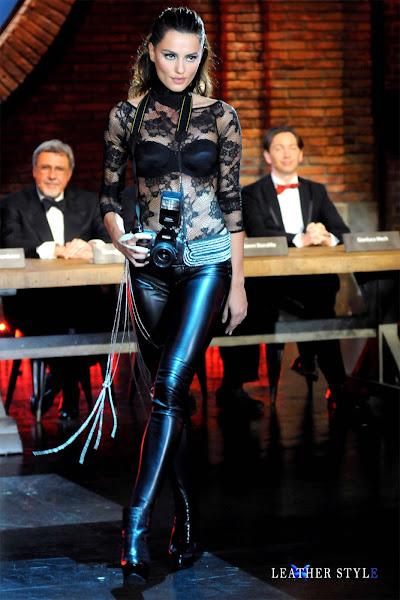 fashion model, actress, Catrinel Menghia, Catrinel Marlon, leather pants, broadcast, Chiambretti Show, TV, Mediaset, photoshoot, 2012