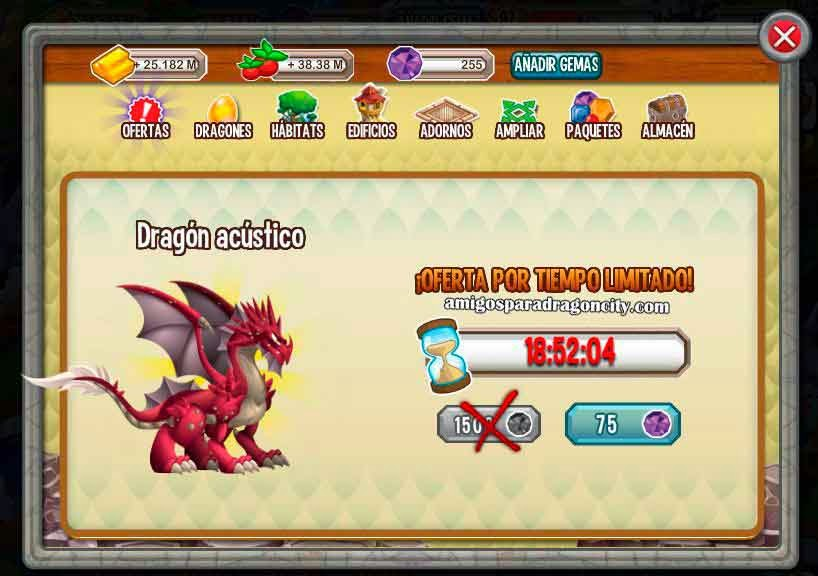 imagen del dragon acustico por 75 gemas
