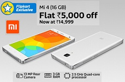 Flat Rs.5000 Off on Mi4i (16GB) now for Rs.14999 Only @ Flipkart