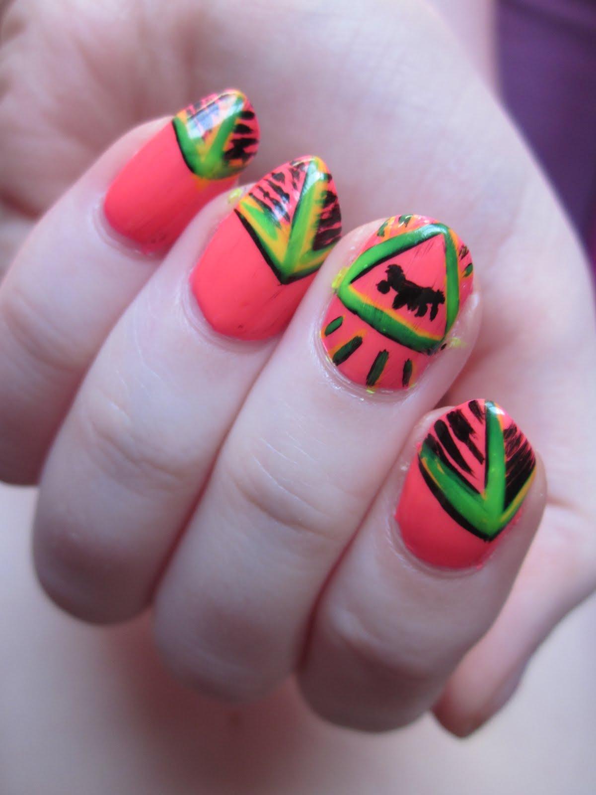 Plastizine Dream: Neon Pyramid Nail Art