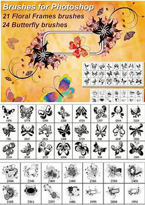 فورش فوتوشوب ورود والزهور و إطارات ورود و فراشات floral frames butterfly brushes Arab-Design