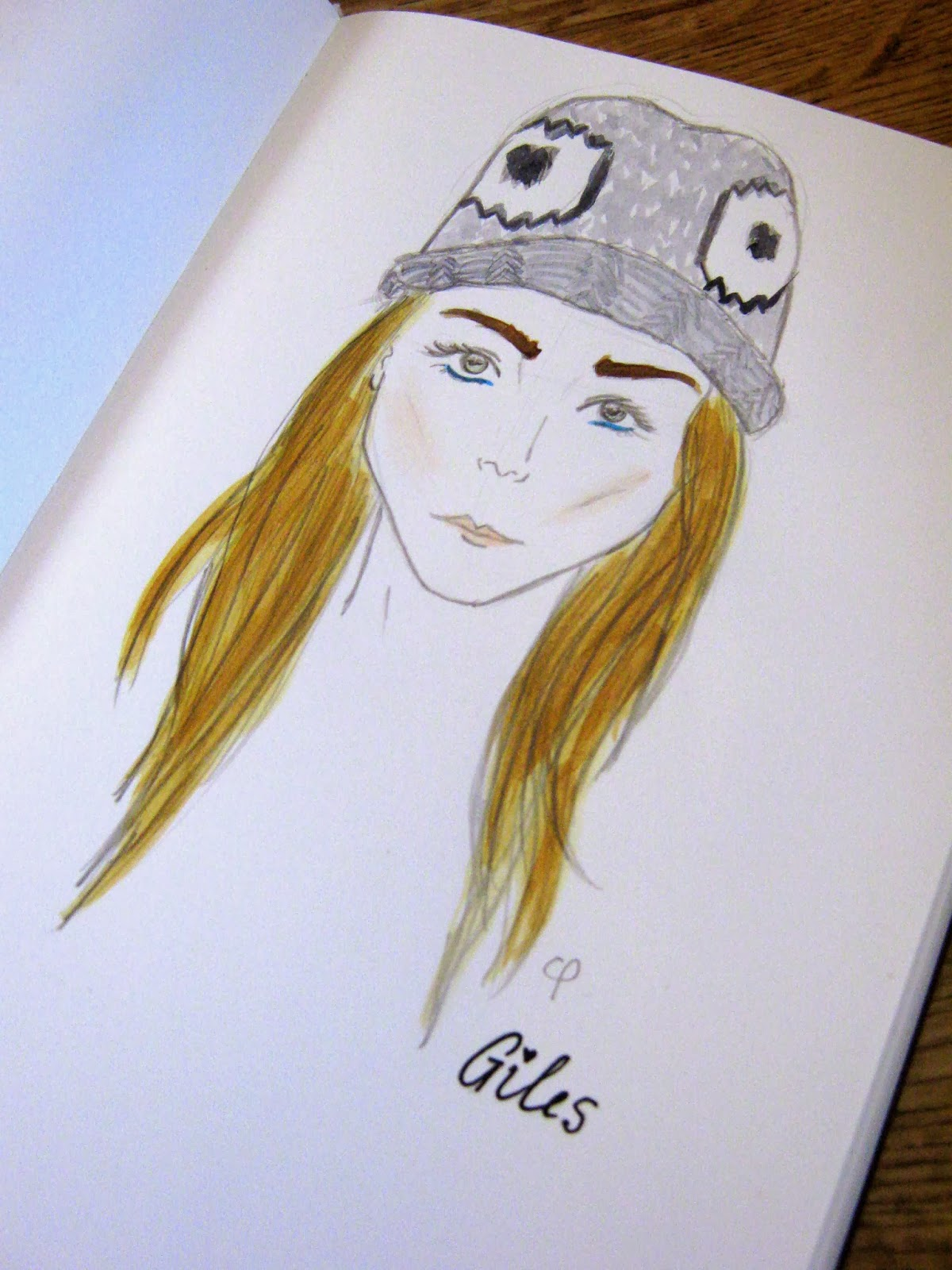 Cara Delevigne Giles Beanie Fashion Illustration