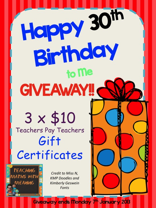 Happy 30th Birthday To Me GREAT GIVEAWAY 20 Off