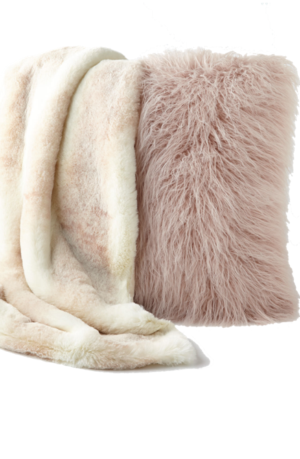 Faux Fur throw and blanket