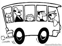 Lembar Mewarnai Gambar Mobil Bus