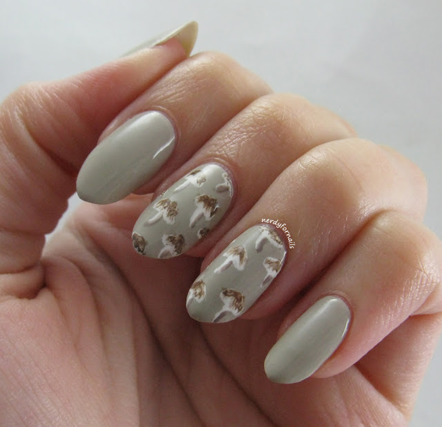 Grey Button Mushroom Nails Inspired by Olay Active Botanicals Snow Mushroom