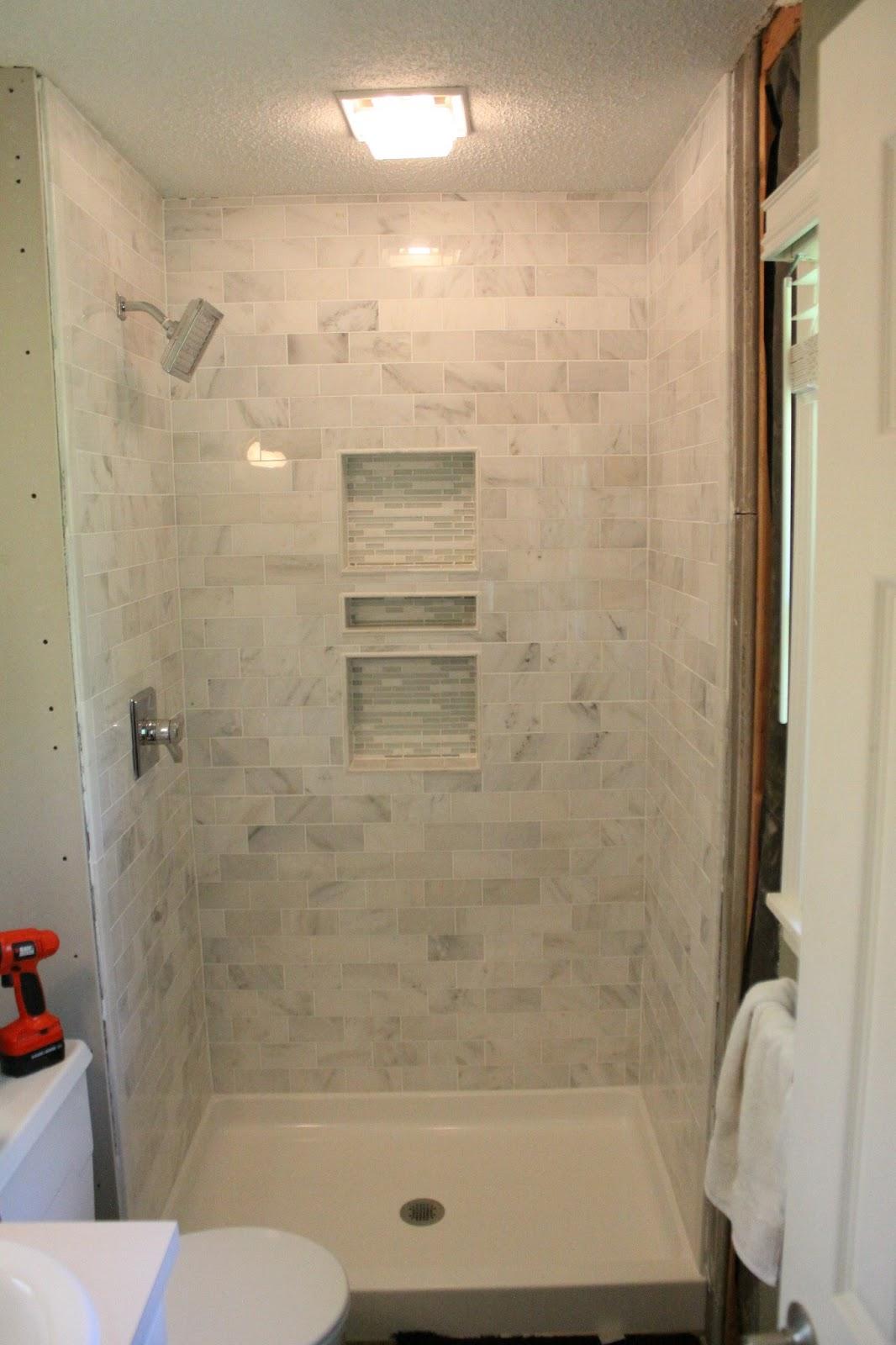 Tile stand up shower tile design ideas for Bathroom remodel mckinney