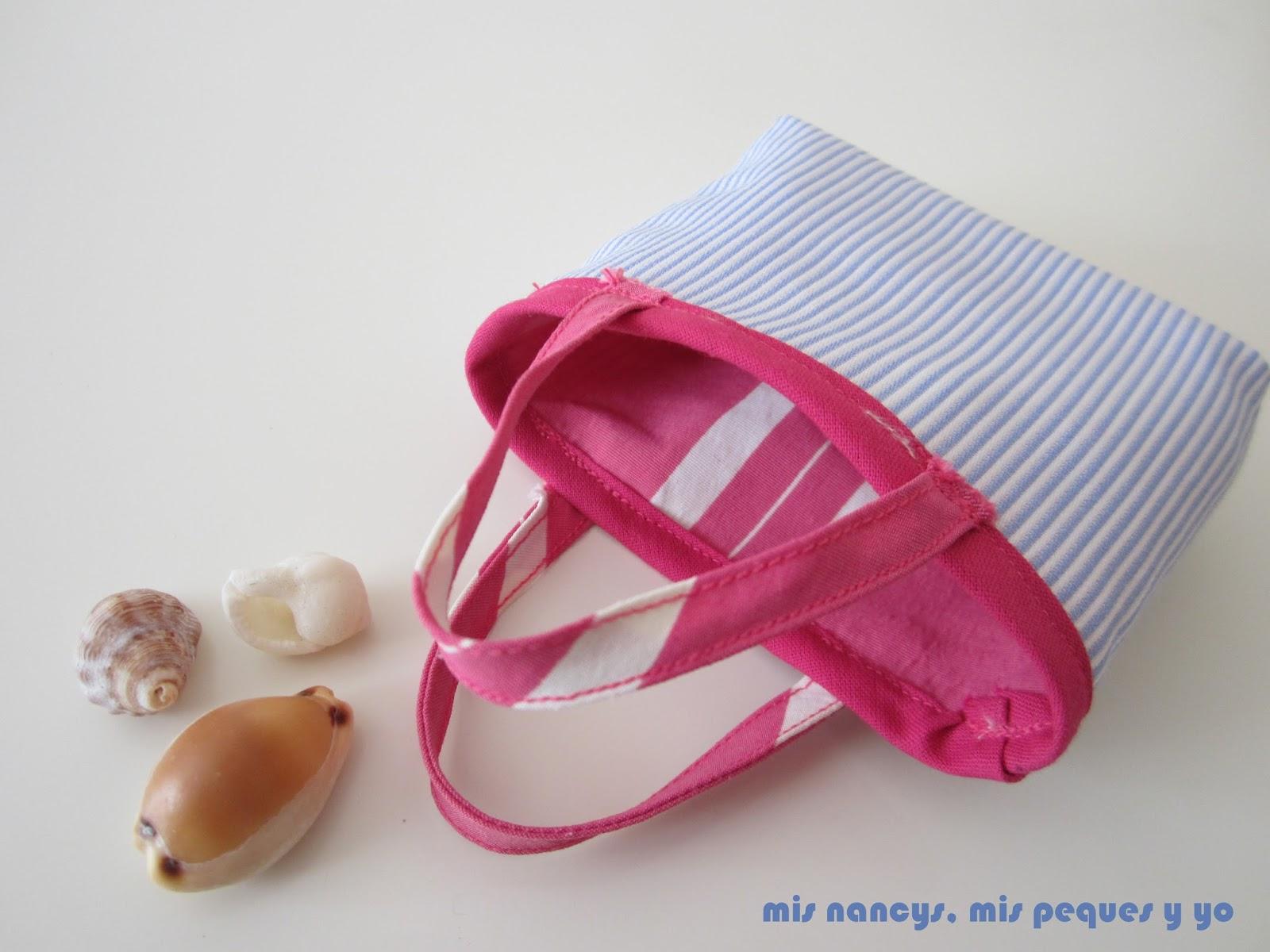 mis nancys, mis peques y yo, tutorial bolsa playera Nancy, bolsa reversible