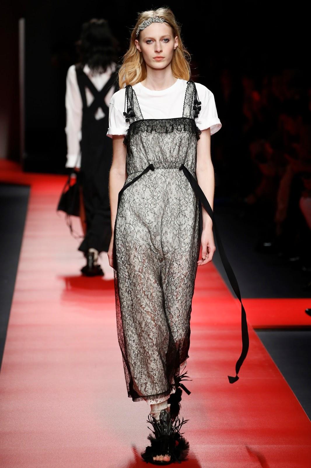 milan fashion week, look, spring 2016, catwalk show, model, lace
