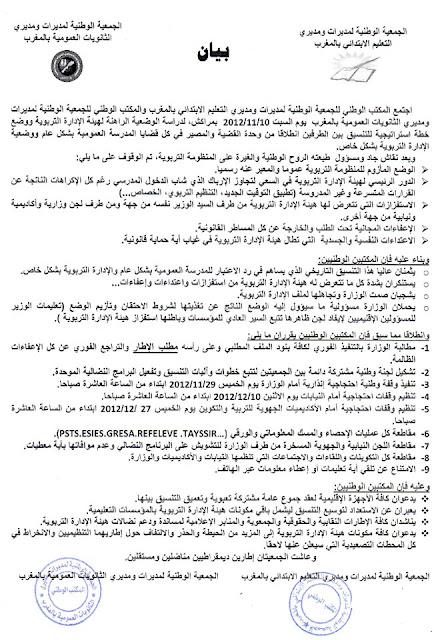 المناصب الإدارية الشاغرة بمؤسسات التعليم الابتدائي إلى غاية 31 دجنبر 2013