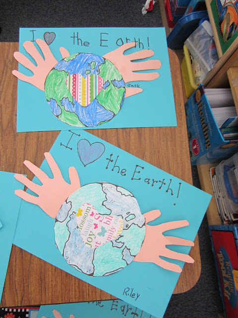 ... writing paper and the Earth template for your kids to color and cut