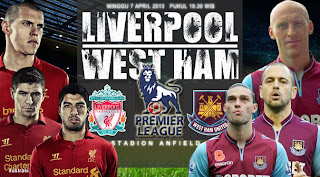 Prediksi Pertandingan Liverpool vs West Ham United 7 April 2013