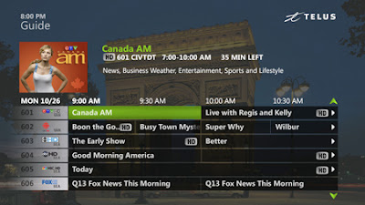 telus optik television guide screenshot