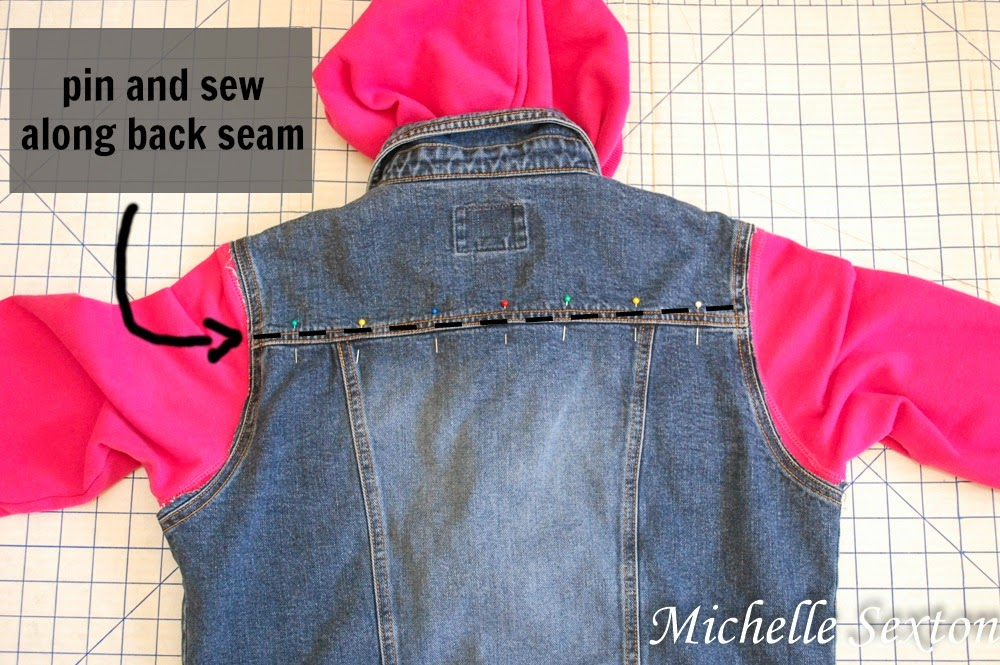 pin and sew along back seam for added security