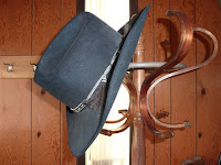 Author Stephen Bly's hat hanging at Winchester Community Church, ID