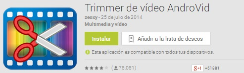 Trimmer de vídeo AndroVid
