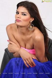 Pooja Tomar in Lovely Pink Strapless Bloue Choli and Jari Work Saree Beautiful Pics