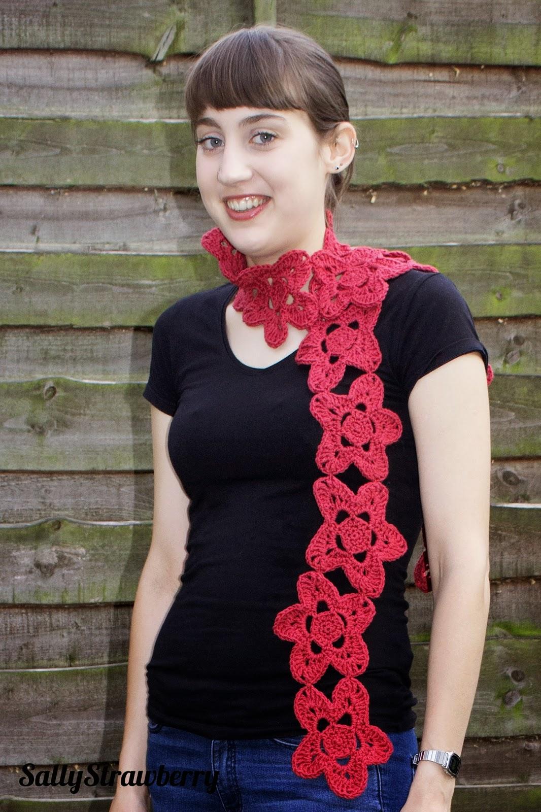 Crochet flower motif scarf, red, by SallyStrawberry