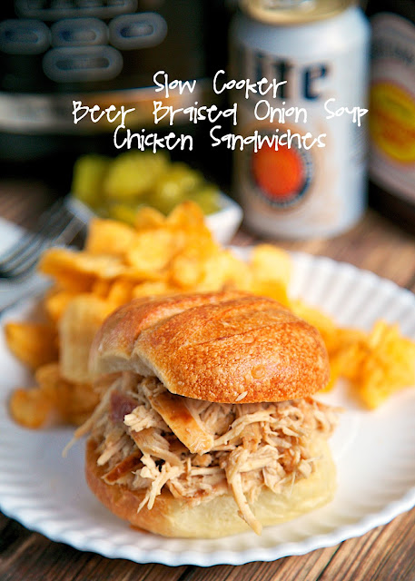 {Slow Cooker} Beer Braised Onion Soup Chicken Sandwiches - only 4 ingredients! Fix it and forget it! Great for a weeknight meal or even tailgating!
