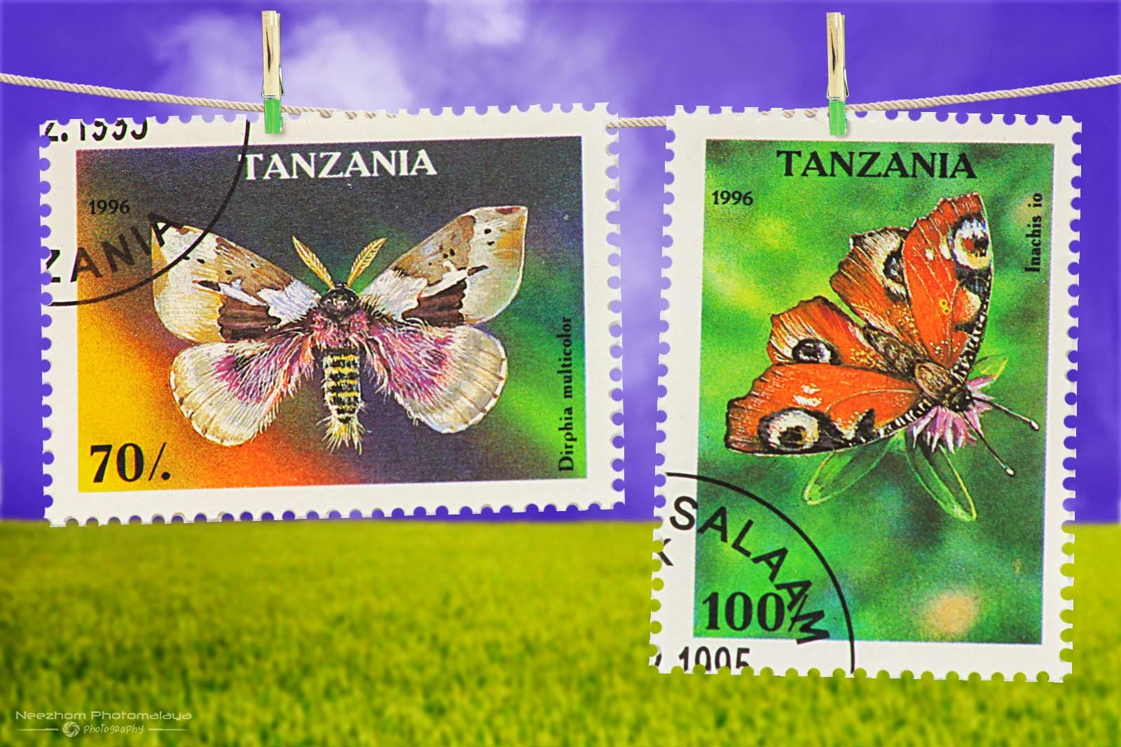 Tanzania Moth stamps 1996 - Dirphia multicolor, Inachis io