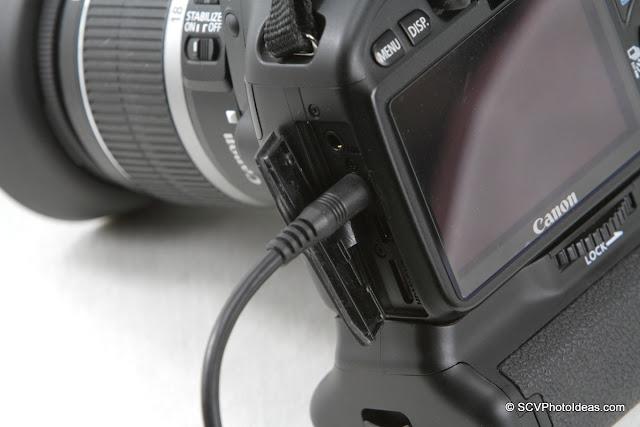 E3 Male jack in Canon EOS 550D connector closeup