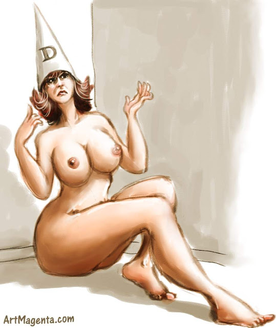 Esmeralda in a dunce cap is a life drawing by artist and illustrator Artmagenta