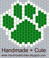"free seed Peyote Stitch bead pattern ""Cat Paw Print"" схема мозаичного плетения из бисера подвески ""Отпечаток кошачьей лапы"""