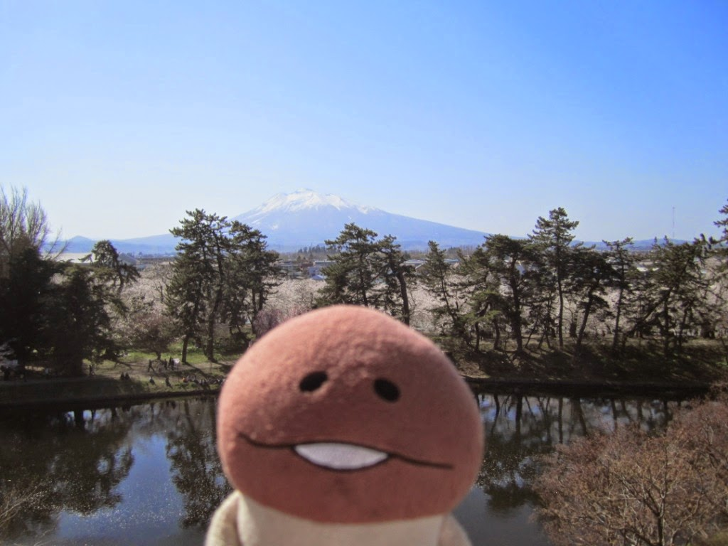 View of Mount Iwaki from Hirosaki Castle Park Honmaru (paid area) 岩木山 弘前公園 本丸 有料区域