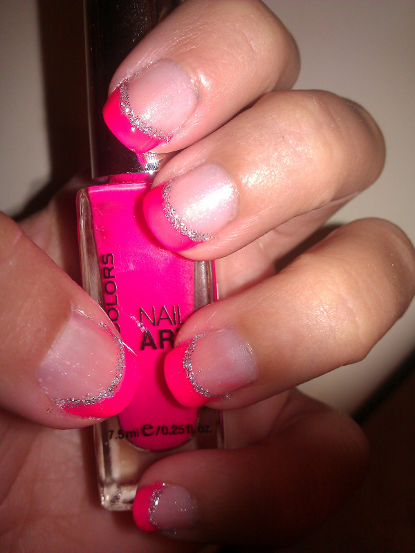 WELCOME TO MY BLOG: Bright Pink French Manicure Nails With Silver ...