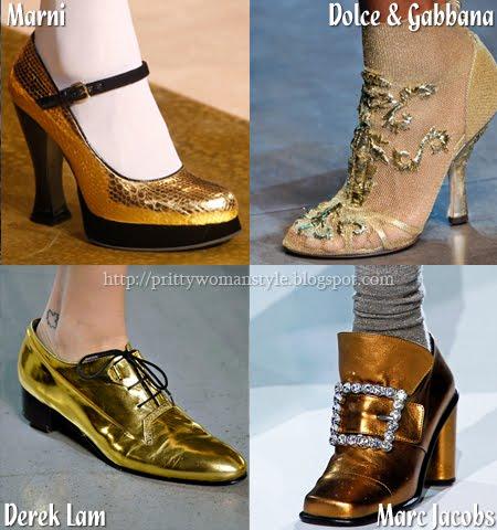 вечерни и ежедневни обувки в златно