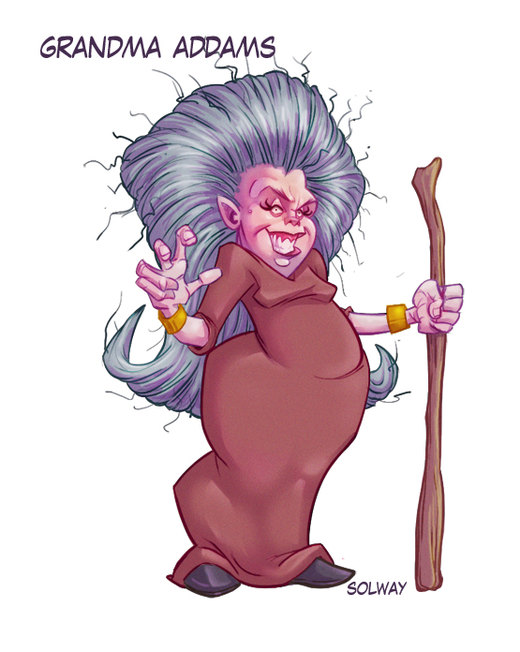 Grandma Addams color por Kravenous