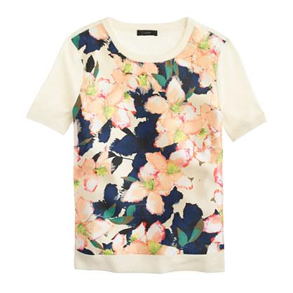 Merino Silk-Panel Sweater in Cove Floral