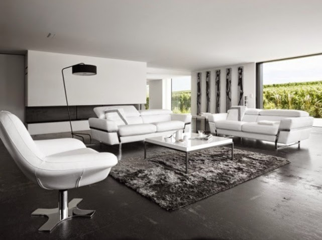 Super salon noir et blanc for Application deco interieur
