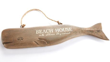 Wood whale beach house sign