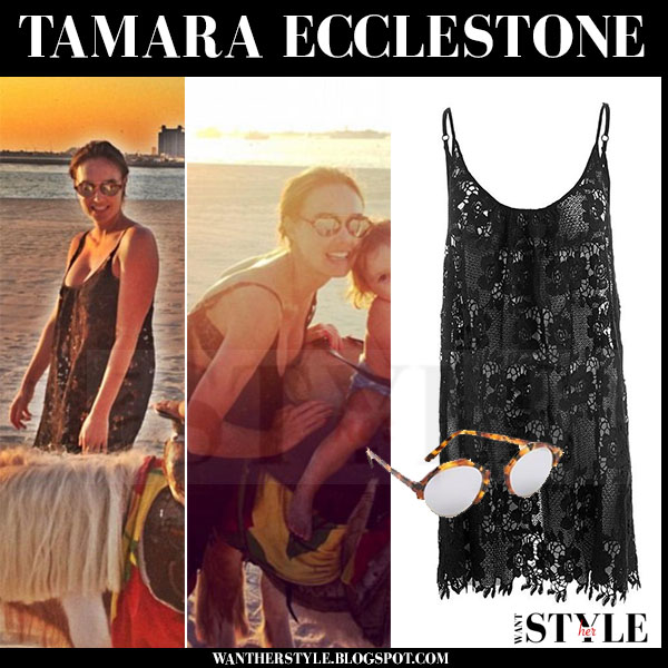Tamara Ecclestone in black lace beach dress melissa odabash saffron what she wore