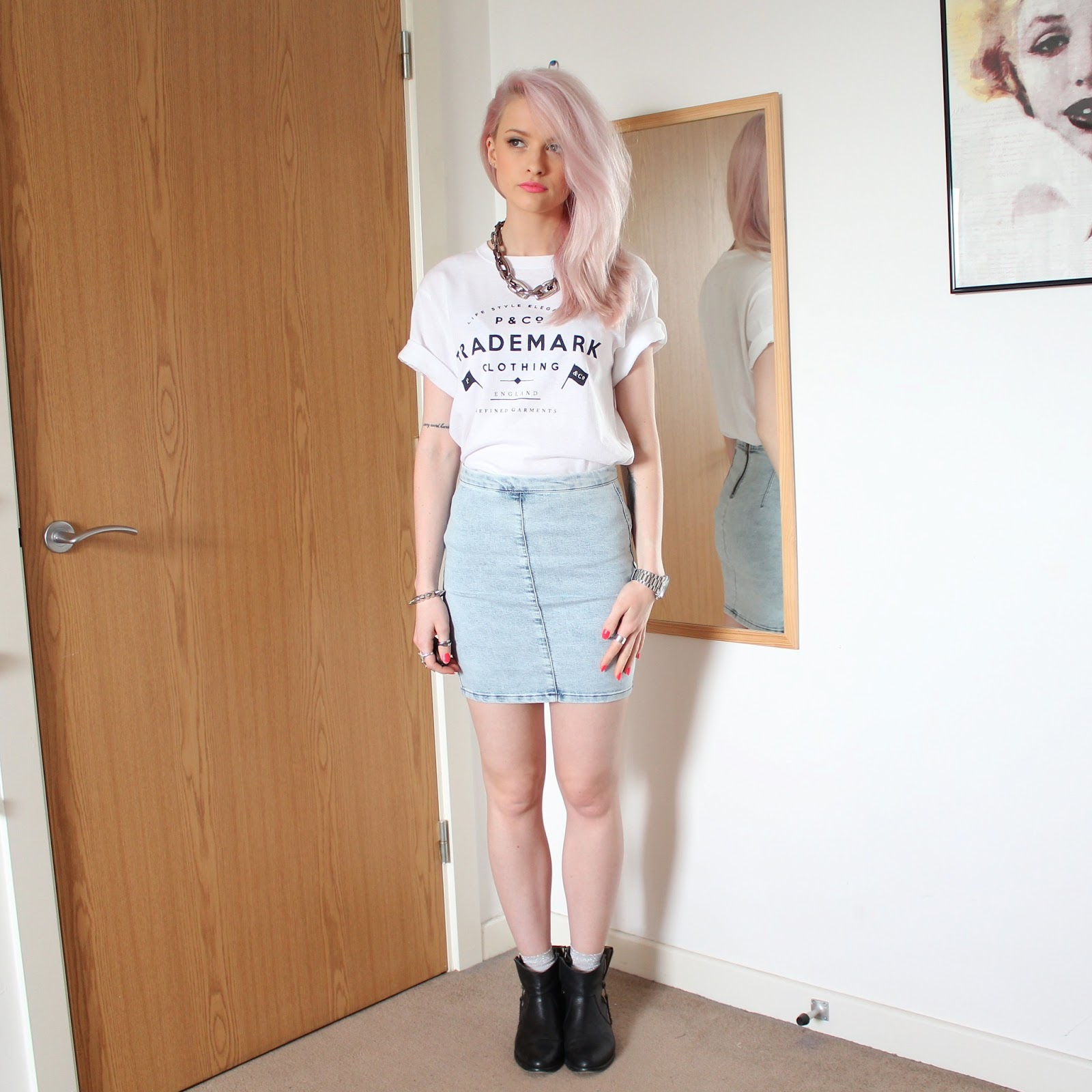Topshop Moto Vintage Denim Mini Skirt