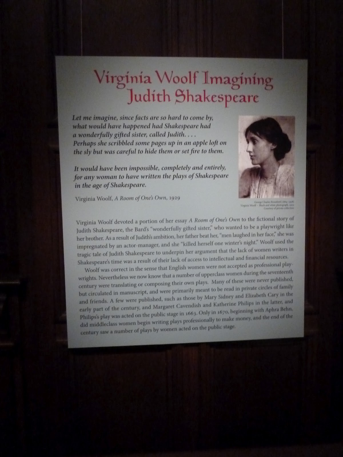why does woolf have judith shakespeare become pregnant Virginia woolf describes a story about shakespeare and what if he had a sister shakespeare's sister to me was a story about how woman are treated and what types of oppourtunites they have compared to men.