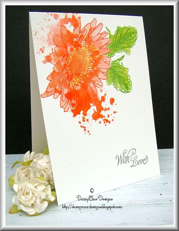 gerbera, flower, orange, green, distress inks, Uniko Studio