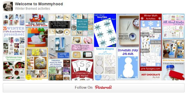 Welcome to Mommyhood Winter Themed Activities Pinterest Board #winteractivities, #homeschool, #preschool, #montessori