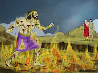 an illustration of The Rich Man and Lazarus illustration courtesy of freebibleimages.org, which shows a man standing in flames with marks on his body talking to two men who are far into the distance, one being Abraham and the other being Lazarus.  The illustration is from the Bible story the Rich man and Lazarus in the gospel of Luke.