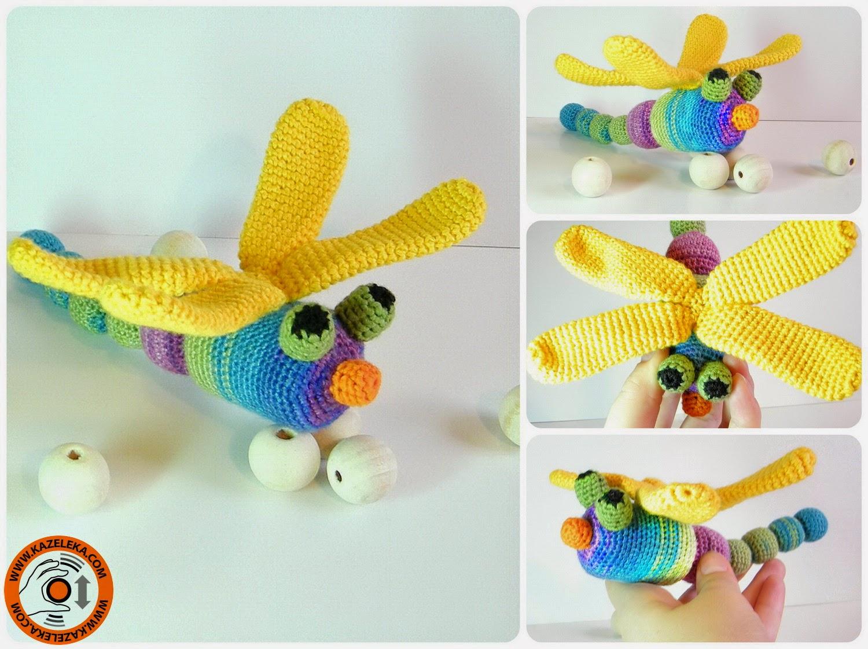 вязаная игрушка погремушка стрекоза