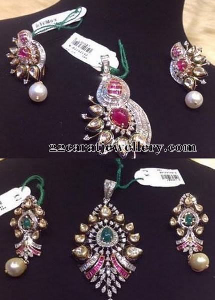 Polki diamond pendant sets jewellery designs simple diamond designer floral pendant set with ruby stones large pear shaped polki diamonds adorned across the pendant studded with invisible rubies all aloadofball Images