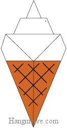 Bước 9: Kẻ các đường chéo để hoàn thành cách gấp que kem ốc quế bằng giấy theo phong cách origami.