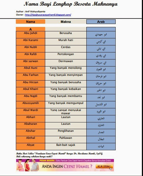 Giveaway kumpulan nama bayi anak islam part 2