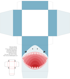 Printable shark gift box #sharks #party #papercrafts #sharkweek