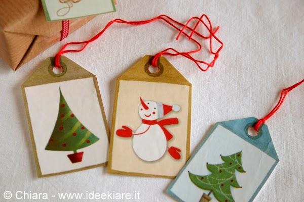 biglietti natalizi fatti con shopper di carta