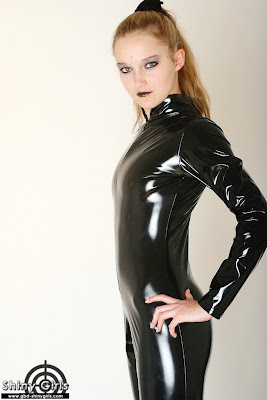 Shiny Girls Vivi in Hot PVC Catsuit