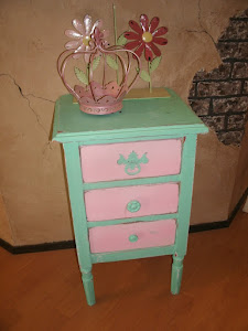 Teal and Pink Night Stand -Sold