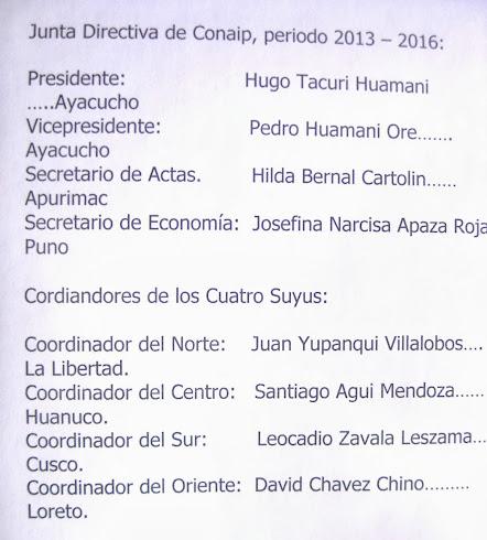 Junta Directiva de Conaip, periodo 2013 – 2016: